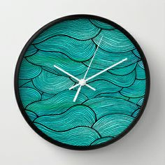 Sea Waves Wall Clock by Pom Graphic Design  - $30.00 #walldecor #clock #wallclock #decor #decorideas #home #forthehome #decorinspiration #giftideas #seawaves #waves #tealdecor #Turquoisedecor