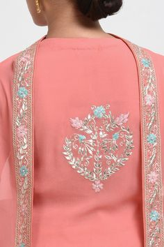 Carnation Pink Hand Embroidered Gota Patti Work Suit with Dupatta Embroidery On Kurtis, Hand Embroidery Dress, Kurti Embroidery Design, Bead Embroidery Patterns, Embroidery Fashion, Hand Embroidery Designs, Embroidery Transfers, Embroidery Art, Embroidery Boutique