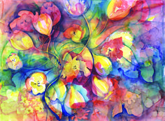 In the Tulips - Watercolour - 78 x 58 cms