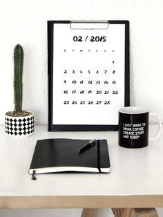Free printable calendar for February 2015 | Mono Online Shop