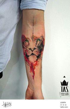 Watercolor lion tat want 1