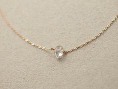 Delicate Herkimer Diamond Necklace / Minimal Raw by LayeredAndLong
