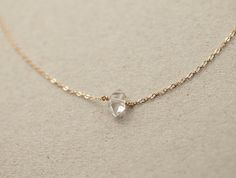 Delicate Herkimer Diamond Necklace / Minimal Raw by LayeredAndLong