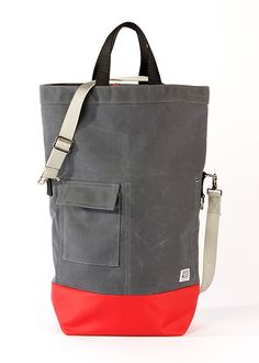 Blackbird - Chester Wallace - Waxed Canvas Tote Bag in Slate and Red