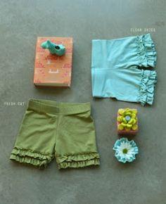 DIY Matilda Jane knockoffs.  Good way to recycle leggings into shorts!