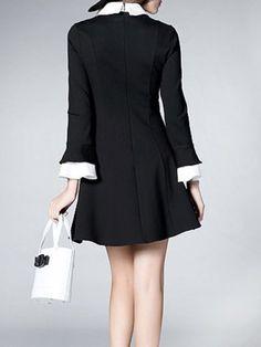 Black V Neck Paneled Long Sleeve Mini Skirt