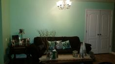 Updated sitting area,  mint wall and purple couch!!!!