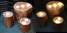 make pencil holders for response areas? Stools on stage out of stumps. Woodsy Decor, Lodge Decor, Log Candle Holders, Tree Stump Table, Branch Decor, Easy Home Decor, The Ranch, Tea Light Holder, Unique Furniture