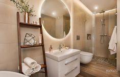 salle de bain tons beige et touche de carreaux en ciment