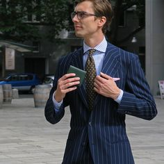 """shibumi-berlin: """" Niels, with our Green Leather Wallet, Brown 7-Fold Tie and White/Pink Pocket Square A compact, slim wallet, perfect for your inner pockets. www.shibumi-berlin.com """""""
