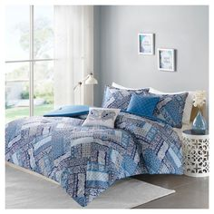 Blue Lainey Paisley Printed Comforter Set (Twin/Twin XL) 4pc