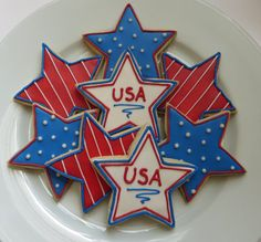 Stars and Stripes, Fourth of July decorated cookies! Yummy and festive cookies! 4th Of July Desserts, Fourth Of July Food, 4th Of July Celebration, 4th Of July Party, July 4th, Blue Cookies, Summer Cookies, Star Cookies, Cut Out Cookies