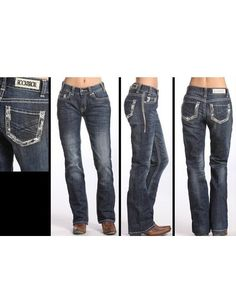 ed68784d Rock & Roll Cowgirl® Juniors' Rhinestone-Edged Pockets Jeans Cowgirl  Jeans,