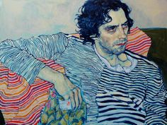 Working within the traditional realm of portrait painting, Hope Gangloff has developed a stylized approach that favors texture and shape over light and depth. Gangloff is a great painter of hands and faces; rendered in dashing brushwork, they always appear full of expressive weight. Her other major talent is for articulating patterns in thin, fastidious lines, enabling her to paint clothing and textiles with incredible finesse.