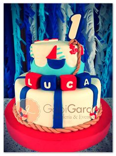 Awesome cake at a Sailor Birthday Party!  See more party ideas at CatchMyParty.com!