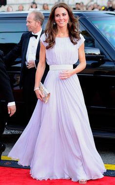 The Duchess of Cambridge looked elegant in a lavender Alexander McQueen Grecian gown at the BAFTA Brits to Watch Gala.