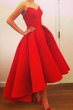 Real Iamge Prom Dresses Unique New Elegant Cheap Hi-lo Red Sweetheart Satin Long…