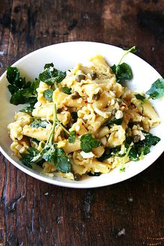 Pin for Later: Fast and Easy Vegetarian Dinners Campanelle With Hard-Boiled Eggs, Capers, and Watercress Egg Recipes, Pasta Recipes, Cooking Recipes, Healthy Recipes, Meatless Recipes, Pavlova, Hard Boiled, Boiled Eggs, Fresco
