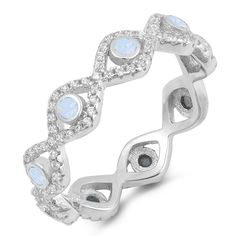 Please Take A Moment To Visit Our Store!        Item Number: RO150565  Availability: Usually Ships in 5 Business Days      PRODUCT DESCRIPTION:    Crafted in sterling silver, this beautiful band features bezel set lab created white opal gemstones delicately framed by by brilliant machine-cut cubic zirconia.        FEATURES:      Crafted in Fine Sterling Silver  Rhodium Plated  Bezel Set Design  Lab Created White Opal Gemstones  Brilliant Machine-Cut Cubic Zirconia   | Shop this…