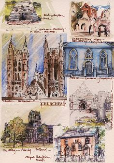 'CHURCHES' - FROM 'JOURNEYS'  - | by PARK@ARTWORKS Taj Mahal, Artworks, Vintage World Maps, Journey, Watercolor, Ink, Drawings, Prints, Painting