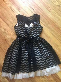 63204be454de B. Darlin Black Beige Tulle Embellished Mini Dress Party Formal Juniors 7/8