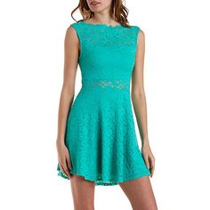 Scalloped Lace Boat Neck Skater Dress: Charlotte Russe