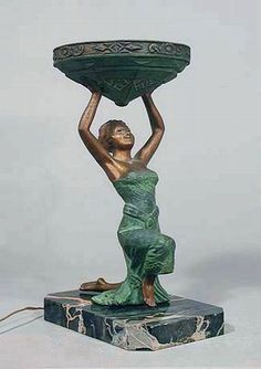 Art Deco 20's Lamp Egyptian Revival Flapper Sculptural Lady Lamp w/ Tiered Cake Shade offered by ArtDecoAntiques, $1250.00