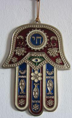 HAMSA HAND CHAI HEBREW JERUSALEM RED BLUE ENAMEL BEAUTIFUL NEW