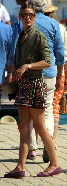 Olivia Palermo: Sunglasses – Westward Leaning  Purse – Celine  Skirt = Zara  Shoes – French Sole