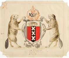 Proposed Coat of Arms for New Amsterdam, New Netherland: Preparatory Drawing for a Presentation to the Dutch West India Company, ca. 1630. New-York Historical Society