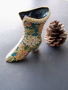 Vintage Home Decor Victorian Boot Vase in rich by papercherries, $34.00