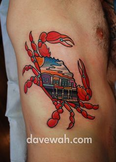 Awesome crab tattoo on skin tattoos pinterest crab for Best tattoo shops in maryland