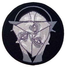 Our logo , a geometric surrealist approach on Maria , the robot from German expressionist film Metropolis.High quality embroidery  iron on patch.7 cm (2,7 inch) diameter.