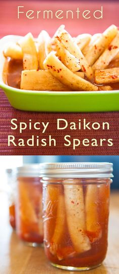 This kimchi-style Daikon Radish recipe melds a wonderful heat with a distinct tartness. Great to snack on, or perhaps as a garnish to your Bloody Mary! Radish Pickle Recipe, Daikon Recipe, Radish Recipes, Radish Kimchi, Pickled Radishes, Pickled Fruit, Mulberry Recipes, Spagetti Recipe, Fermentation Recipes