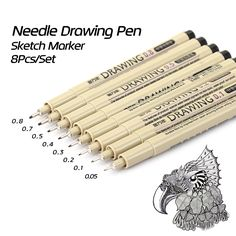 KNOW 8Pcs/Lot Pigma Micron Sketch Marker Pen Black Pigment Liner Neelde Drawing Pen For Drawing Sketching Writing Hook Art Pen  #Affiliate