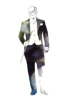 Oscar de la Renta: Channeling iconic Fred Astaire. [Illustrations by Tina Berning]