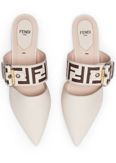 Fendi Leather Mules with FF Strap Source by drdchicago shoes Shoe Boots, Shoes Heels, Tom Shoes, Flat Shoes, Toms Shoes Outlet, Lv Handbags, Fashion Handbags, Leather Mules, Mode Outfits