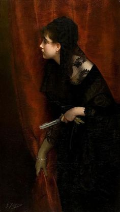 """Opera Girl"" by Gustave Jean Jacquet, 1890"