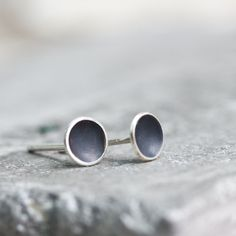 Small cup studs, oxidized sterling silver stud earrings - minimal, simple every day earrings