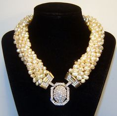 Vintage Donald Stannard Fx Pearl Diamante Rhinestone Necklace Magnificent from The Vintage Carousel on Ruby Lane