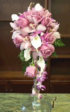Bridal Cascading Bouquet - Lavender and White