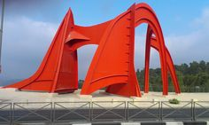Homage to Jerusalem - Sculpture of Alexander Calder built in 1976 in the Herzl Boulevard in Mount Herzl. The sculpture is in front of the last station of the Jerusalem light rail.