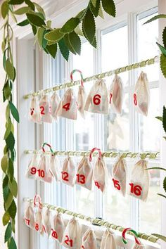 Advent calendar of muslin bags filled with treats