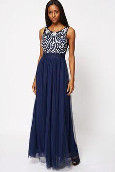 Blue  or Red Beaded Detail Scoop Neckline Evening Dress