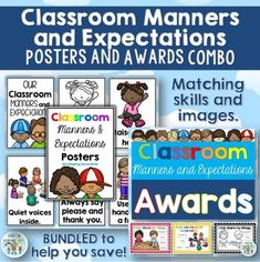 Classroom manners - Classroom Manners and Expectations Posters and Awards COMBOThis file combines these two files -  Classroom Manners and Expectations Posters - Social Skills and - Classroom Awards  Click on the links to download the preview files for an even closer look. *** Matching skills and posters for consistency. ***By purchasing this bundle, you save 20% compared to when purchasing the two files separately. 1.