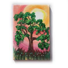 "Green Oak Painting Tree Original small Art 30 KSAVERA 8""x12"" Flowers Sunrise Sunset Sakura painting on canvas birthday for mom her by KsaveraART #TrendingEtsy"