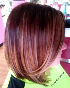 Fall color hair ombre bob caramel highlights