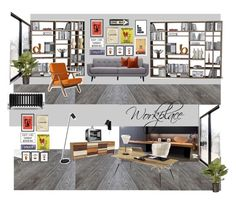 """""""workplace"""" by veryvlada on Polyvore featuring interior, interiors, interior design, дом, home decor, interior decorating, Monde Mosaic, Pottery Barn, KENNY и Nearly Natural"""