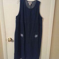 Bechamel Blue Denim Cotton Long Maxi Modesty Jumper Dress Embroidery Pocket  #Bechamel #EmpireWaistMaxi #CasualWork