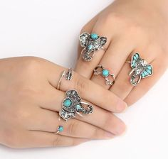 Just Pretty Things 6pcs ELEPHANT RING SET | eBay